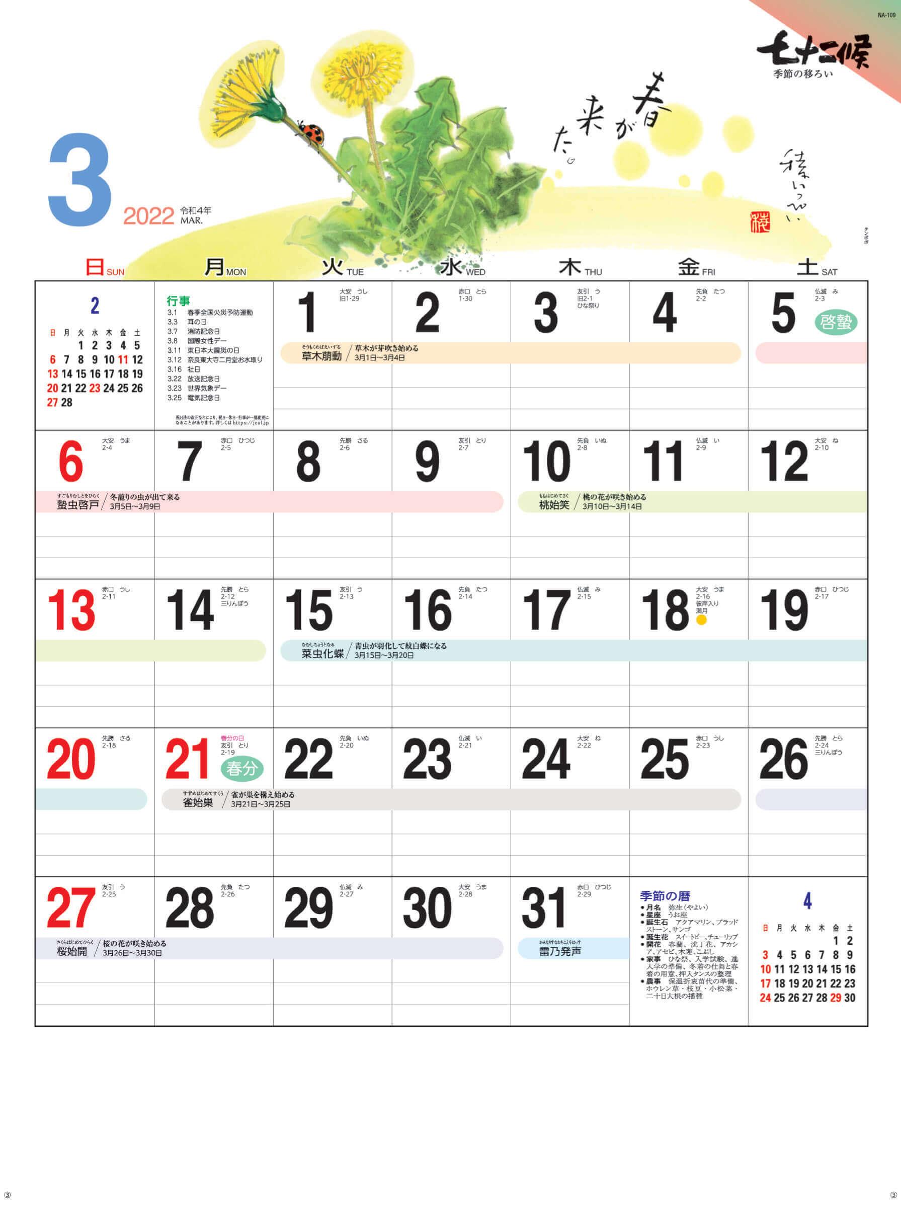 タンポポ 七十二候 2022年カレンダーの画像