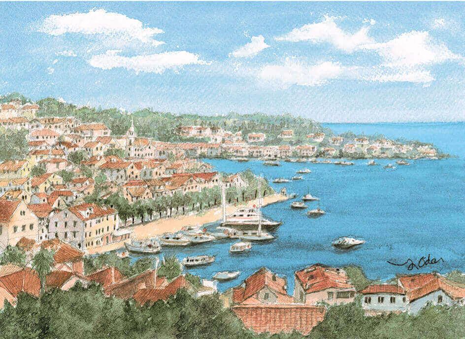 7-8月 フヴァル クロアチア ヨーロッパ散歩道 織田義郎 2022年カレンダーの画像