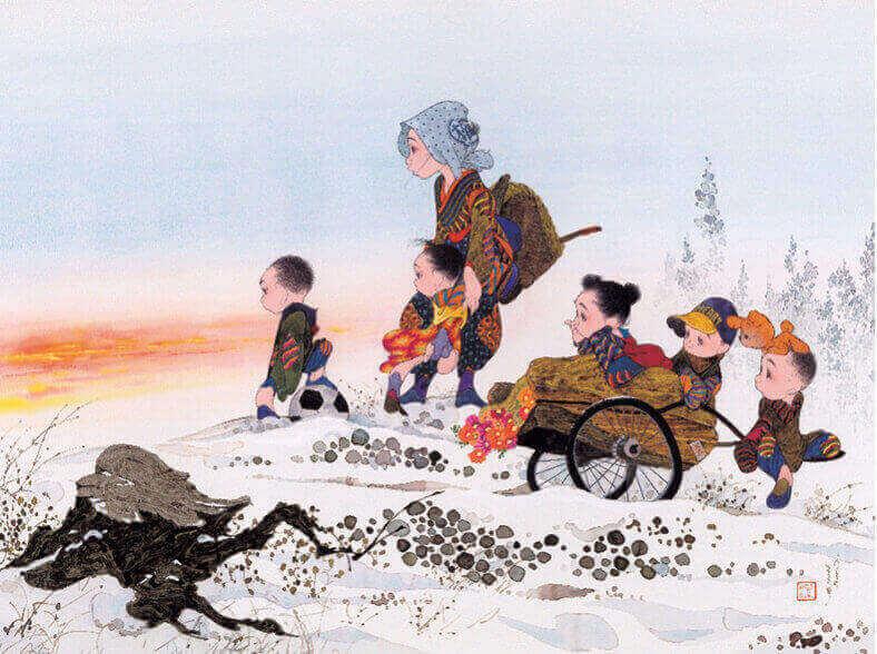 11-12月 峠の夕日 風の詩 中島潔作品集(フィルムカレンダー) 2022年カレンダーの画像