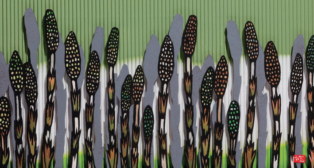 3月 つくしの詩 四季めぐり・久保修切り絵作品集 2022年カレンダーの画像