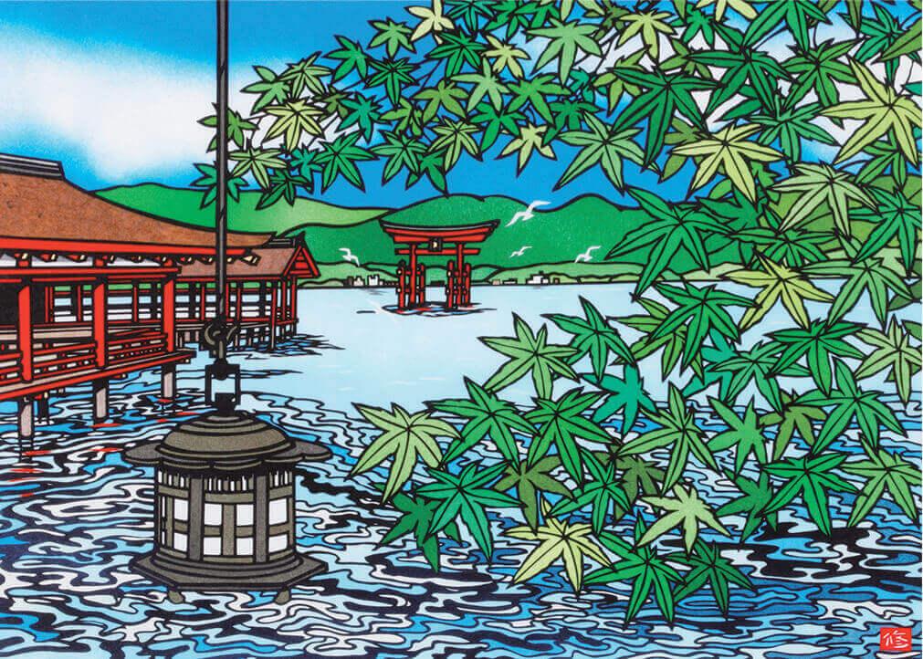 6月 厳島神社(広島) 四季めぐり・久保修切り絵作品集 2022年カレンダーの画像