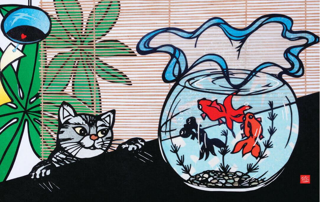 8月 うふふ・・・ 四季めぐり・久保修切り絵作品集 2022年カレンダーの画像