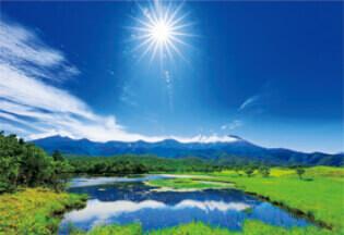6月 知床五湖 一湖(北海道) 輝く太陽 2022年カレンダーの画像