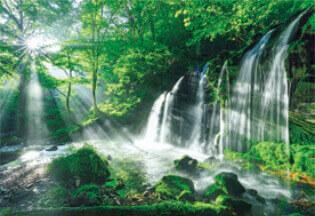 9月 猿壺の滝(兵庫) 輝く太陽 2022年カレンダーの画像