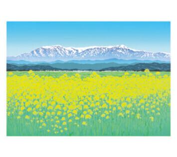 3-4月 陽春の飯豊連峰 小暮真望版画集 2022年カレンダーの画像