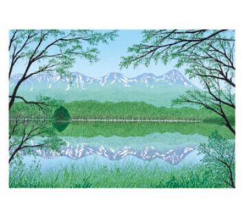 7-8月 知床五湖と連山(羅臼岳) 小暮真望版画集 2022年カレンダーの画像