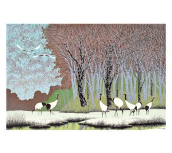 11-12月 丹頂の園(左) 小暮真望版画集 2022年カレンダーの画像