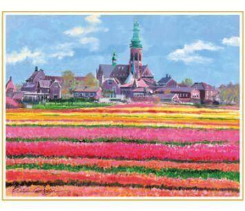 3-4月 アムステルダム郊外の村 オランダ 欧羅巴を描く 小田切訓 2022年カレンダーの画像