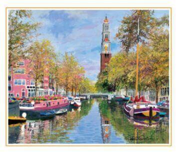 9-10月 秋の運河を航く オランダ 欧羅巴を描く 小田切訓 2022年カレンダーの画像