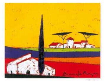 3-4月 低地の家、遠方にのぞむ農家 ロジェ・ボナフェ作品集 2022年カレンダーの画像