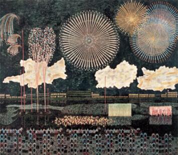7-8月 両国の花火 山下清作品集 2022年カレンダーの画像