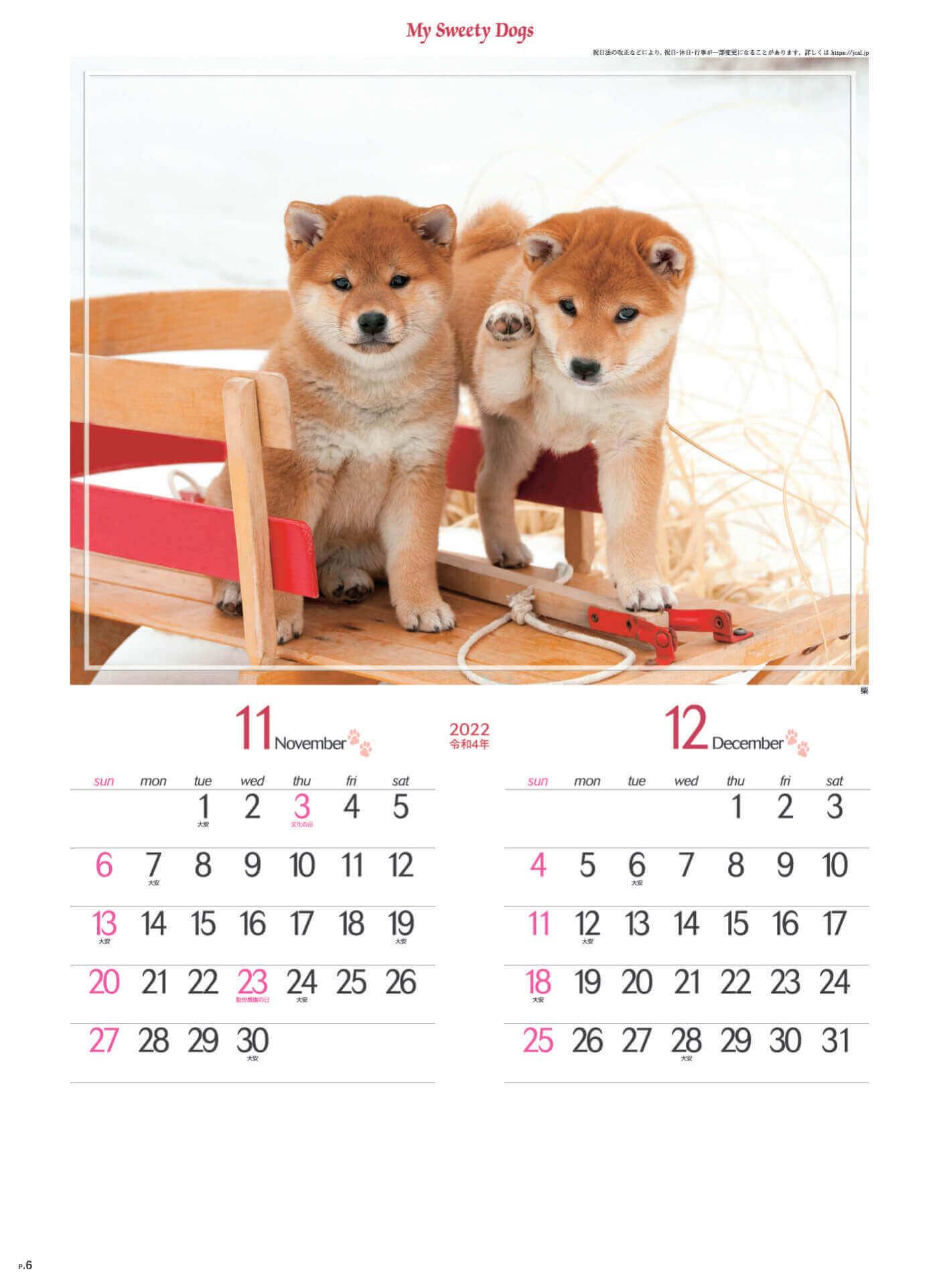 11-12月 柴 マイスウィーティードッグ 2022年カレンダーの画像