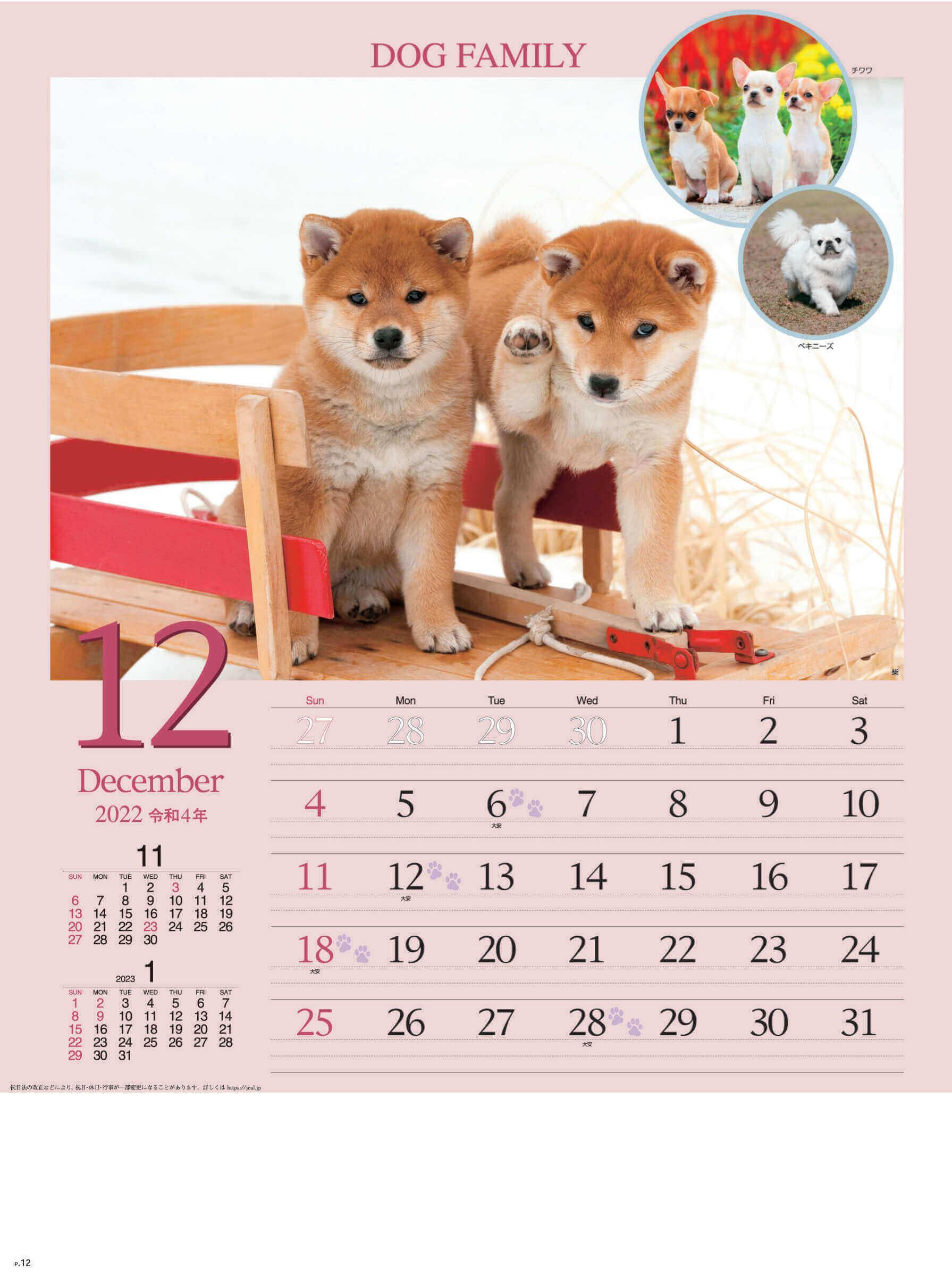 12月 柴 ドッグファミリー 2022年カレンダーの画像