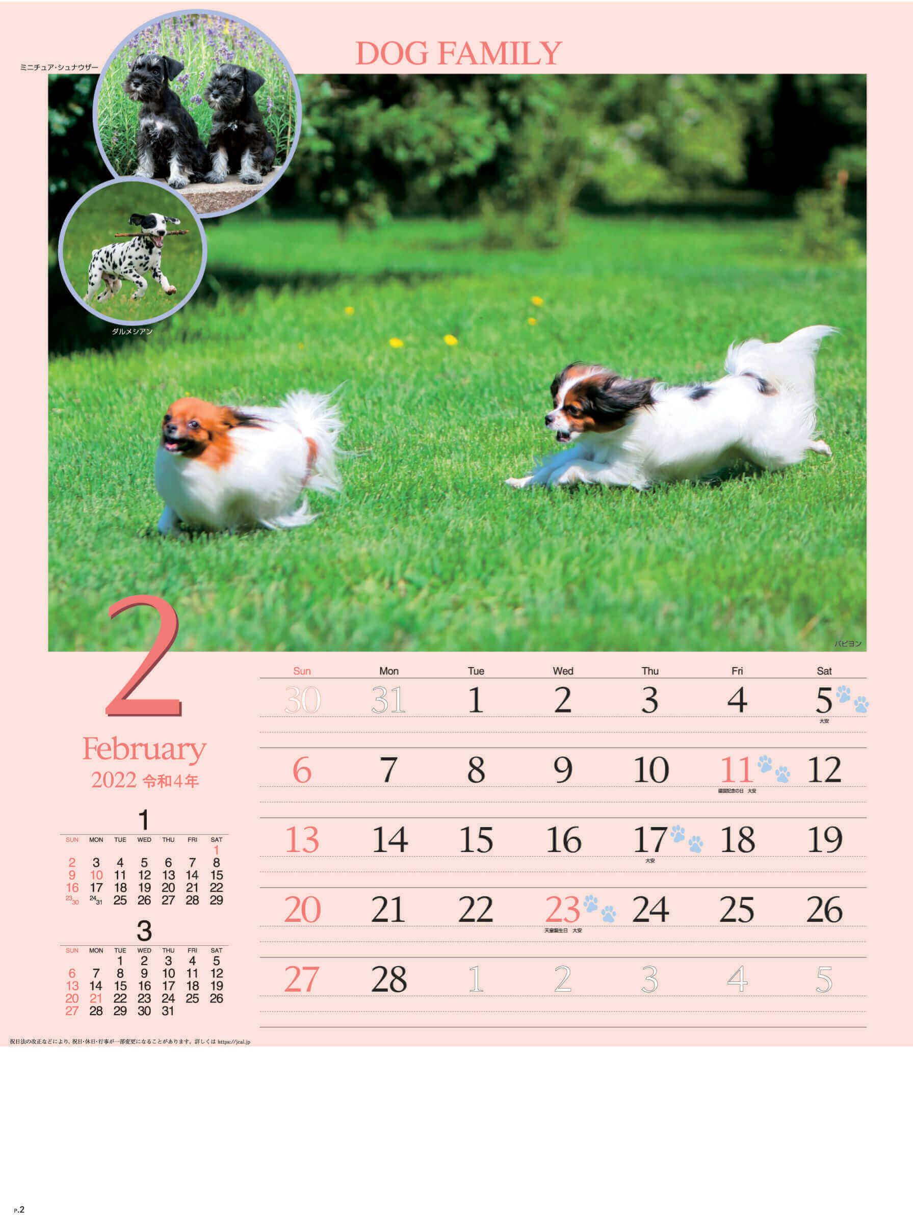 2月 パピヨン ドッグファミリー 2022年カレンダーの画像