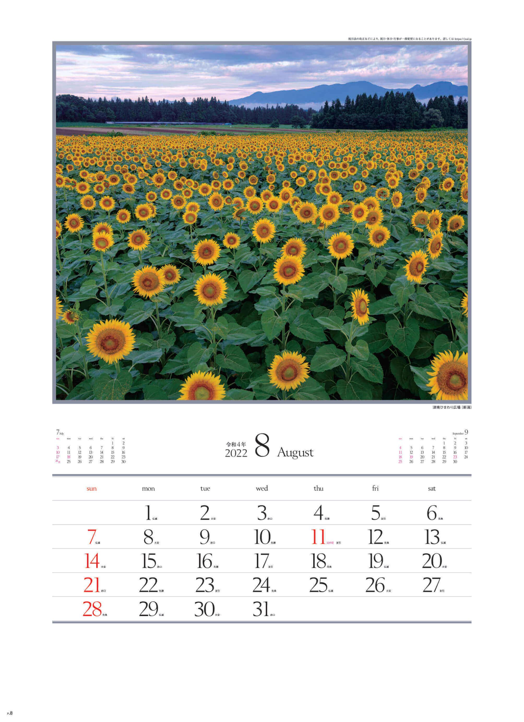 8月 津南ひまわり広場(新潟) 四季十二彩 2022年カレンダーの画像