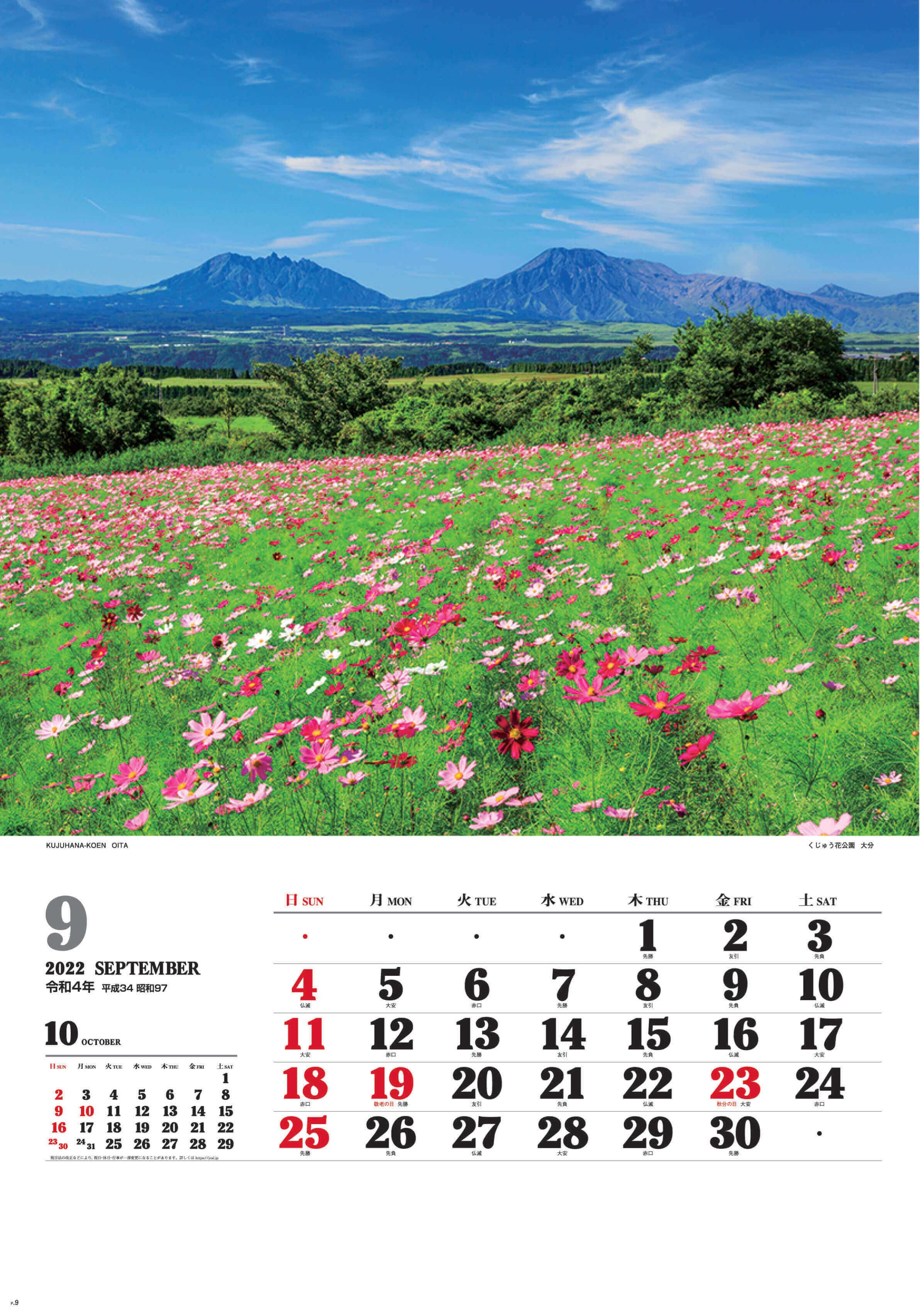 9月 くじゅう花公園(大分) ワイドニッポン十二選(フィルムカレンダー) 2022年カレンダーの画像