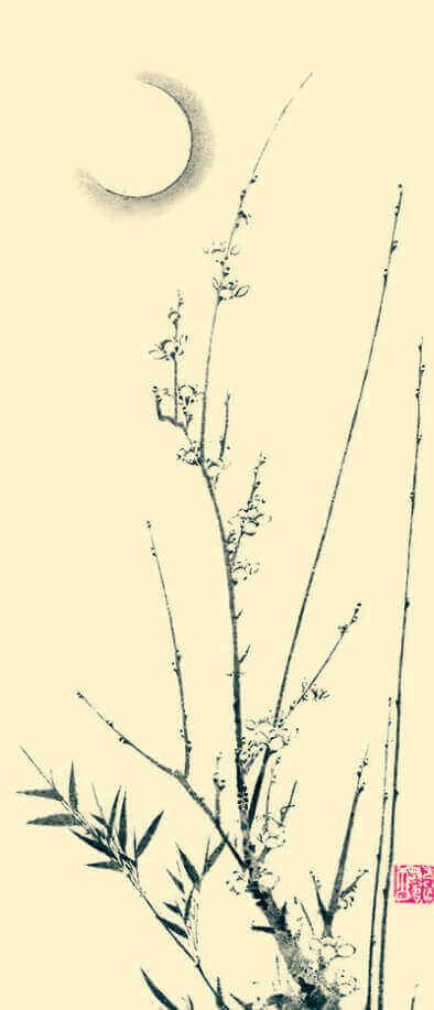 1-2月 輝忠龍杏「梅月図」 水墨画 2022年カレンダーの画像