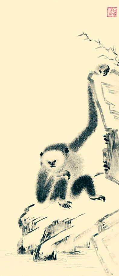 3-4月 等碩「猿猴図」 水墨画 2022年カレンダーの画像