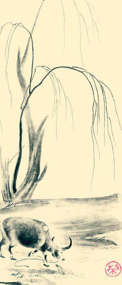 11-12月 宗誉「牧牛図」 水墨画 2022年カレンダーの画像